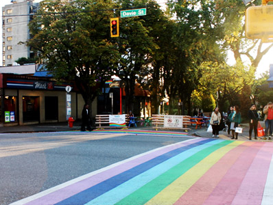 Rainbow Crosswalk at Davie and Bute Street in Vancouver