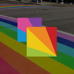Rainbow crosswalk with Davie Village logo