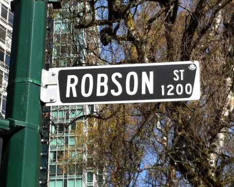 Robson Street Sign